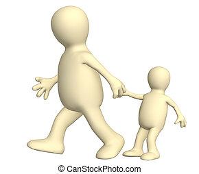 -, donnez marionnette, enfant, petit, traction, adulte