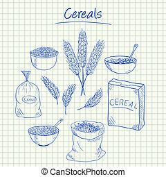 -, doodles, cereali, carta, quadrato