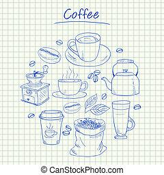 -, doodles, kávécserje, dolgozat, egyenesen