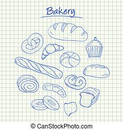 -, doodles, pékség, dolgozat, egyenesen