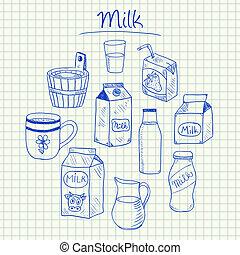 -, doodles, papier, squared, melk