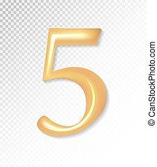 -, doré, eps, vecteur, 3d, collection, cinq, mat, mesh., 5., 10, utilisation, nombre