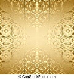 -, doré, vecteur, décoratif, fond, clair, gradient, vendange