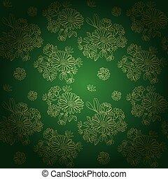 -, doré, vecteur, vert, fleurs, modèle, fond, gradient