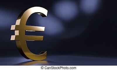 -, dorato, interpretazione, 3d, simbolo euro