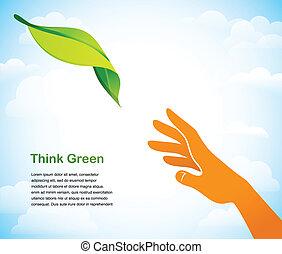 -, dos, fondo verde, manos, pensar
