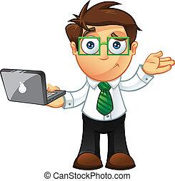 -, draagbare computer, onzeker, zakenmens