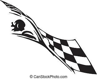 -, drapeau, checkered, courses, symbole
