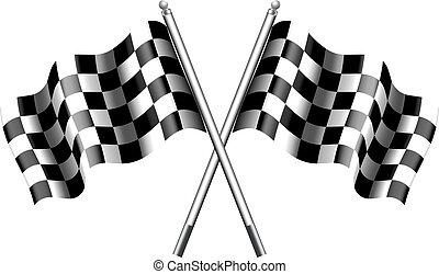 -, drapeau,  checkered, Drapeaux,  chequered