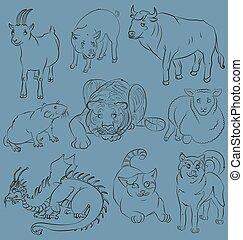 Bull-cat-dog-goat-dragon-pig-rat-sheep-tiger