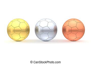 -, drei, gold, fußbälle, silber, bronze, reihe