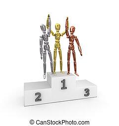 -, drei, gold, podium, gewinner, sieg, silber, bronze