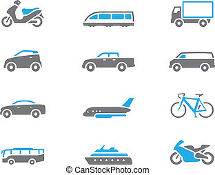 -, duotone, transport, icônes