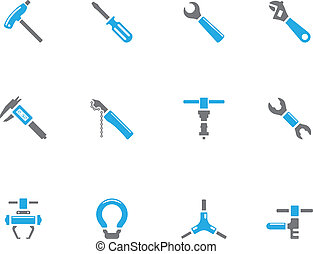 -, duotone, vélo, outils, icônes