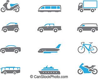 -, duotone, vervoer, iconen