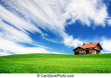 -e, új családi, képben látható, egy, zöld hegy