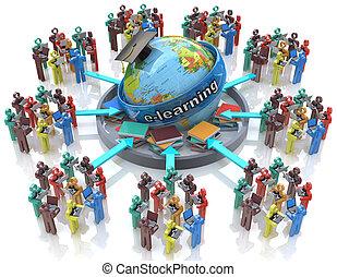-, e-apprendre, concept, education, ligne