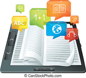 -, e-apprendre, concept, livre électronique