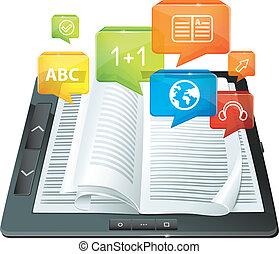 -, e- aprendizaje, concepto, libro electrónico