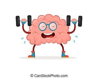 -e, brain., agyonüt, vektor, karikatúra, kiképez, lakás