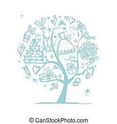 -e, esküvő, fa, tervezés, fogalom