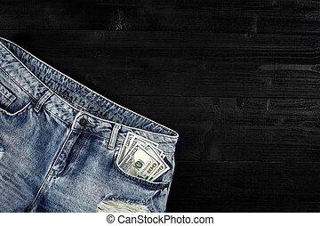-e, farmernadrág, pocket., mozdulatlan, life., készpénz