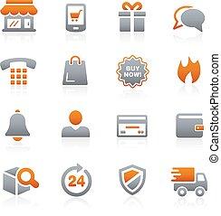 --, e-shopping, iconen, grafiet, reeks