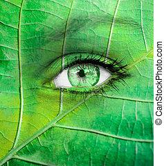 -, ecología, concepto, ojo, verde