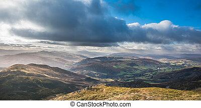-, ecosse, interminable, beau, crêtes, lochs, montagne, ...