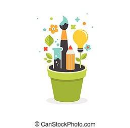 -, education, créativité, croissant, science, illustration, idée, concept, affiche