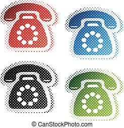 -, effetto, halftone, simboli, telefono, vettore