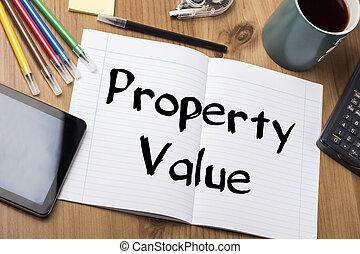 -, eigendom, blok, waarde, tekst, aantekening