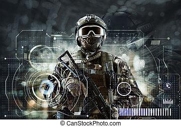 -eik, future., különleges csapatok, futuristic, kézbesít, fegyver, hadi, fogalom, katona, háttér.