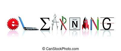 -, elearning, uczyć się, wiedza, idea, pojęcie, słowo