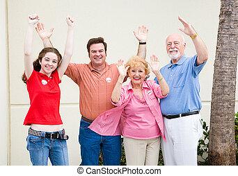-, elección, votantes, entusiasmado