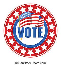 -, eleição, voto, emblema, dia, circular