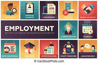 -, elementi, disegno, occupazione, set, appartamento, infographics