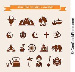 -, elementi, india, collezione, icone