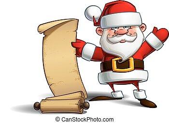 -, elenco, santa, regalo, felice