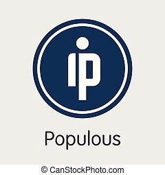 -, emblem., cryptocurrency, populous., ppt, logotipo, o, ...