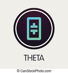 -, emblem., cryptocurrency, theta, theta., o, mercado, icono