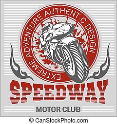 -, emblem., sport., ベクトル, オートバイ, 極点