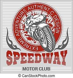 -, emblem., sport., vecteur, motocyclette, extrême