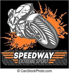 -, emblem., sport., vektor, motorkerékpár, extrém