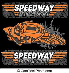 -, emblem., sport., vettore, motocicletta, estremo