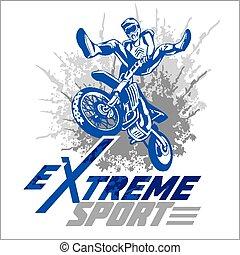 -, emblem., vektor, moto, sport, extrém