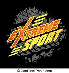 -, emblem., wektor, moto, sport, ekstremum