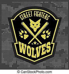 -, emblemas, elements., lobos, etiqueta, desenho, militar