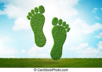 -, empreinte, rendre, carbone, concept, 3d