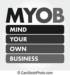 -, empresa / negocio, myob, su, siglas, poseer, mente